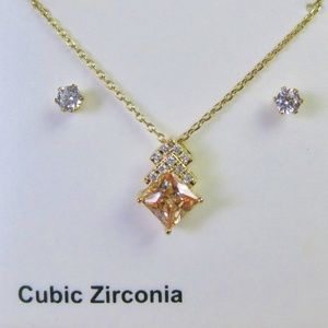 NIB Cubic Zirconia Necklace and Earrings